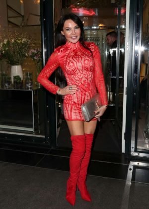 Lizzie Cundy in Red Mini Dress - Leaves Ivy Restaurant in London