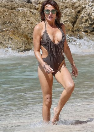 Lizzie Cundy in Swimsuit on the beach in Barbados
