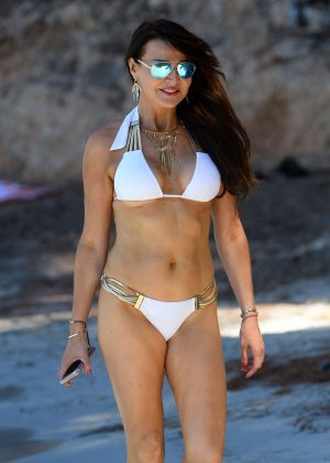 Lizzie Cundy in White Bikini in Majorca