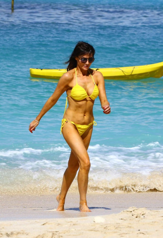 Lizzie Cundy in Yellow Bikini in Barbados