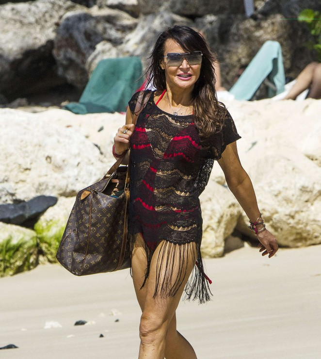 Lizzie Cundy - Seen at a beach in Barbados