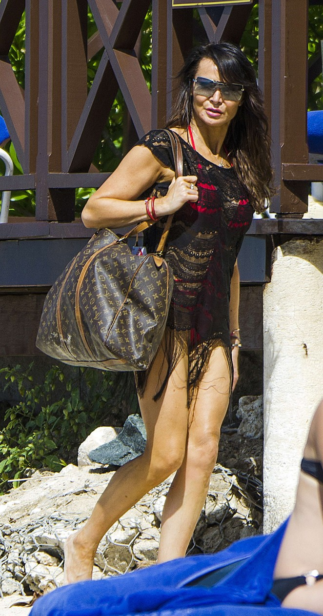 Lizzie Cundy: Seen at a beach in Barbados-12