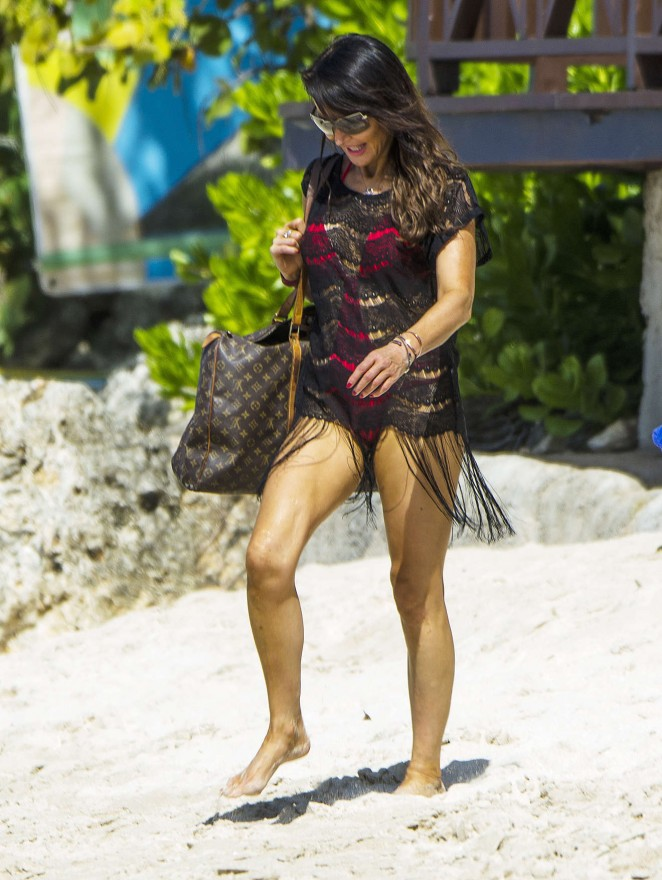 Lizzie Cundy: Seen at a beach in Barbados-15