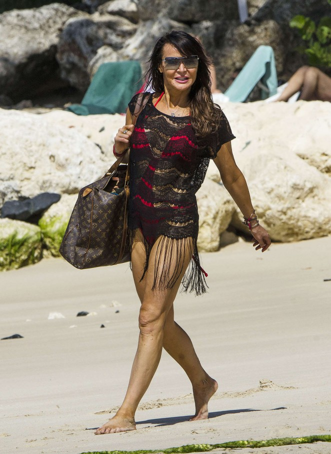 Lizzie Cundy: Seen at a beach in Barbados-16