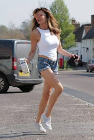 Lizzie Cundy - Spotted in denim hotpants in London