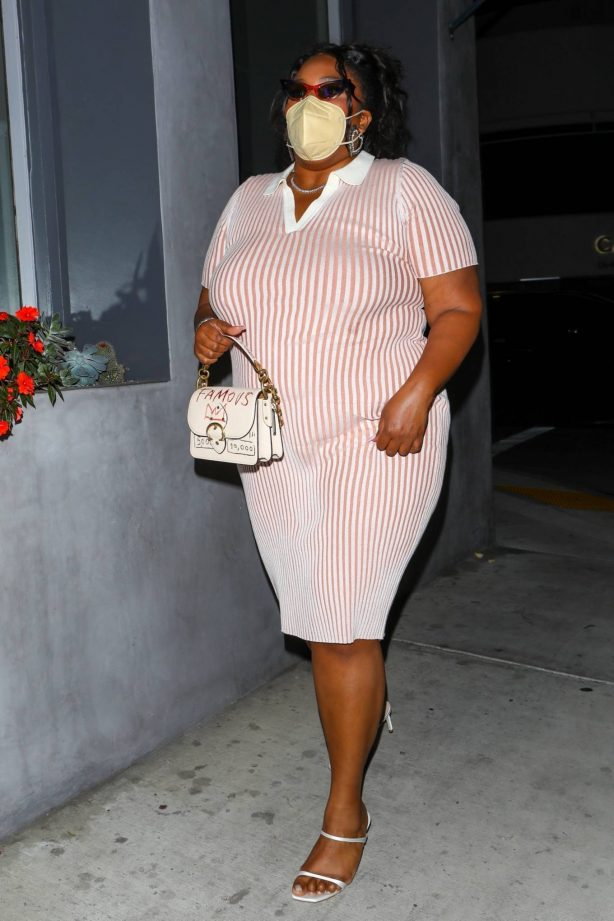 Lizzo - In a pink and white striped dress leaving dinner at Crossroads Kitchen in Los Angeles