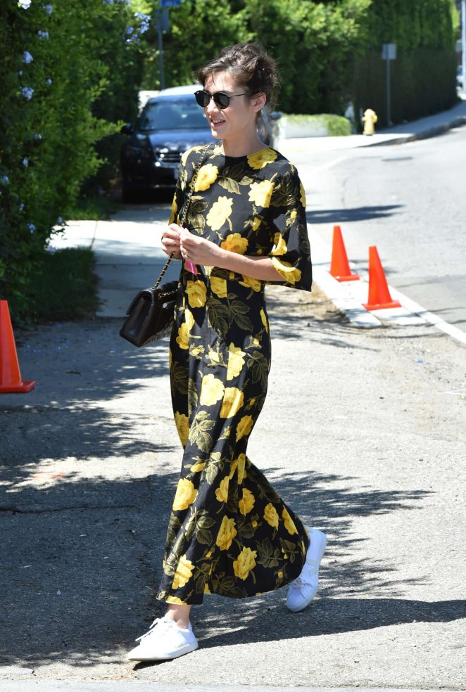 Lizzy Caplan in Floral Dress -01