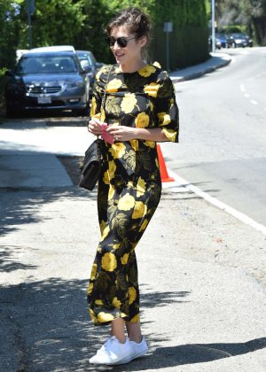 Lizzy Caplan in Floral Dress out in Brentwood