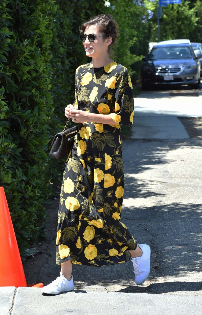 Lizzy Caplan in Floral Dress -05