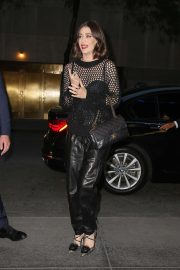 Lizzy Caplan in Leather Pants - Out in Los Angeles