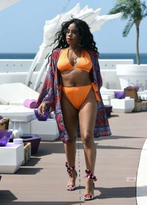 London Hughes in Orange Bikini at a pool party in Cape Verde Pic 7 of 35