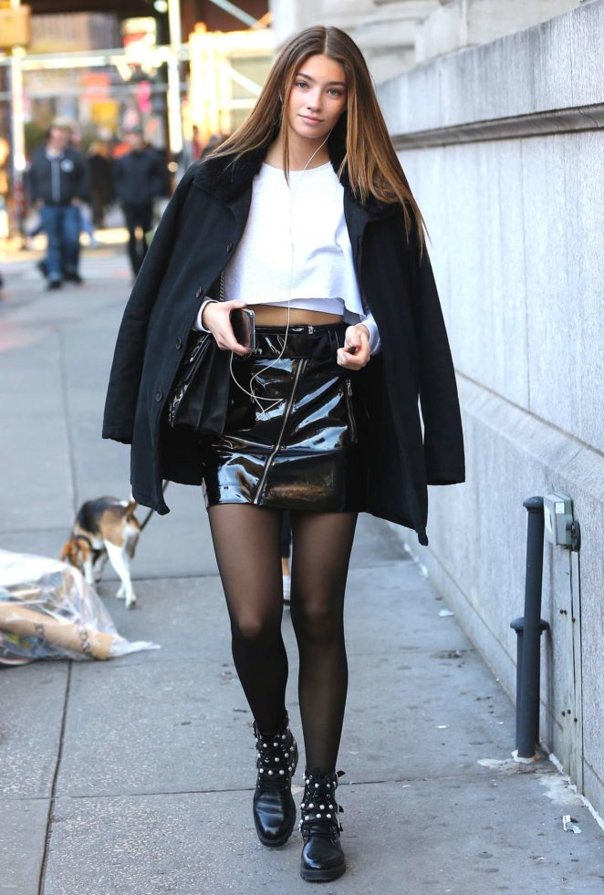 Lorena Rae in Mini Skirt out in New York City