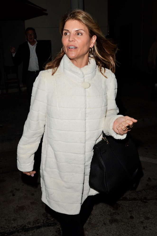 Lori Loughlin in White Coat out in Los Angeles