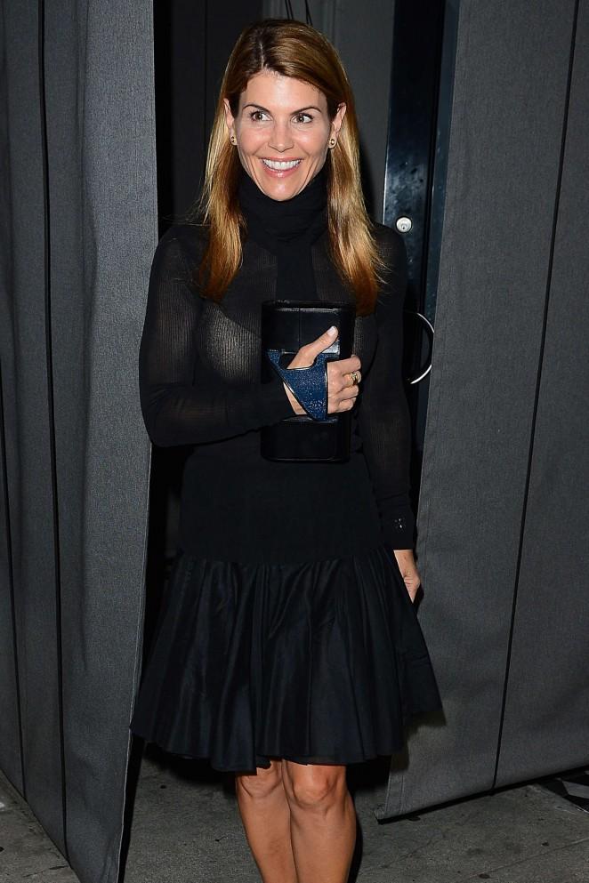 Lori Loughlin in Black Mini Dress Out in Beverly Hills