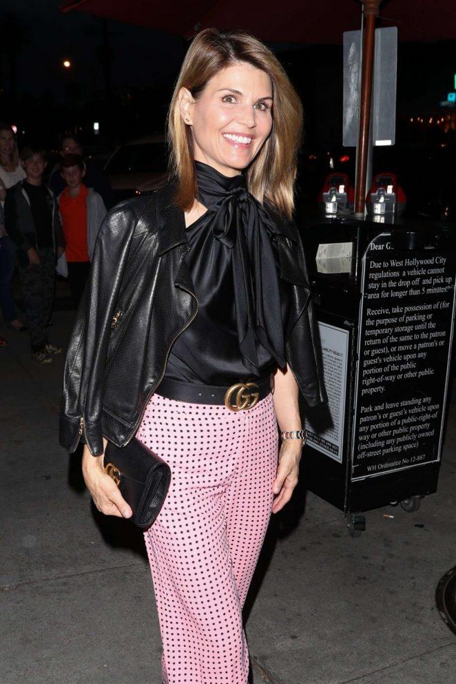 Lori Loughlinin Pink Pants at Craig's in West Hollywood