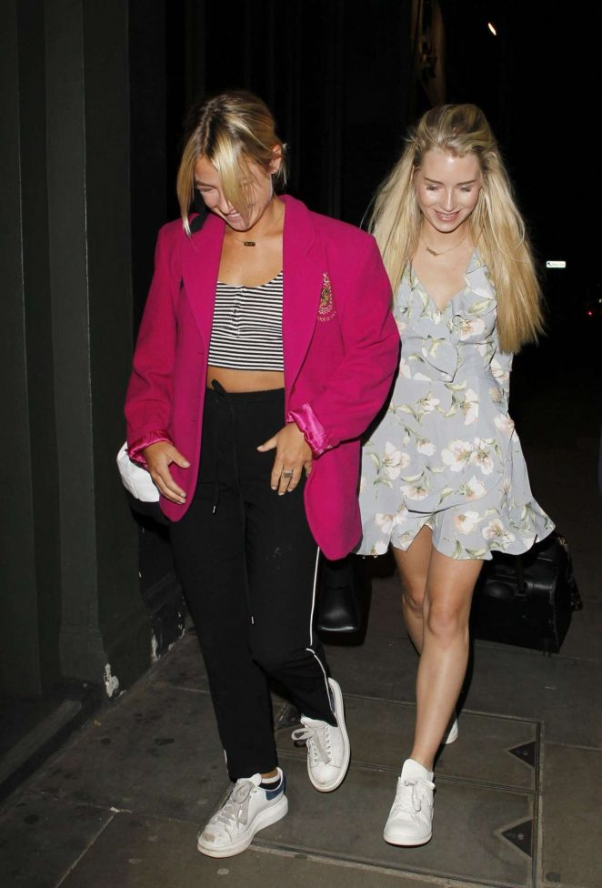 Lottie Moss and Jess Woodley night out in London