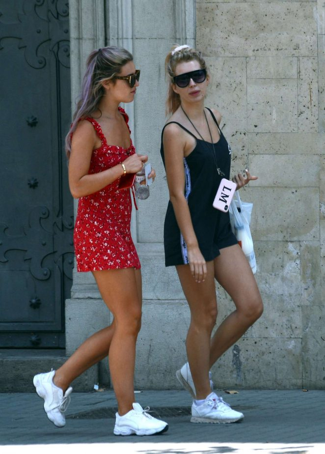 Lottie Moss and Tina Stinnes - Leaves hotel in Barcelona