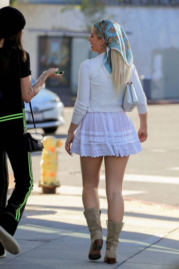Lottie Moss - In a white mini skirt in West Hollywood