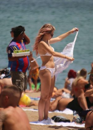 Lottie Moss in Bikini at the beach in Barcelona