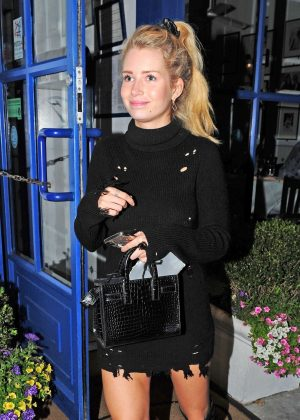 Lottie Moss in Black Mini Dress - Night out in Chelsea