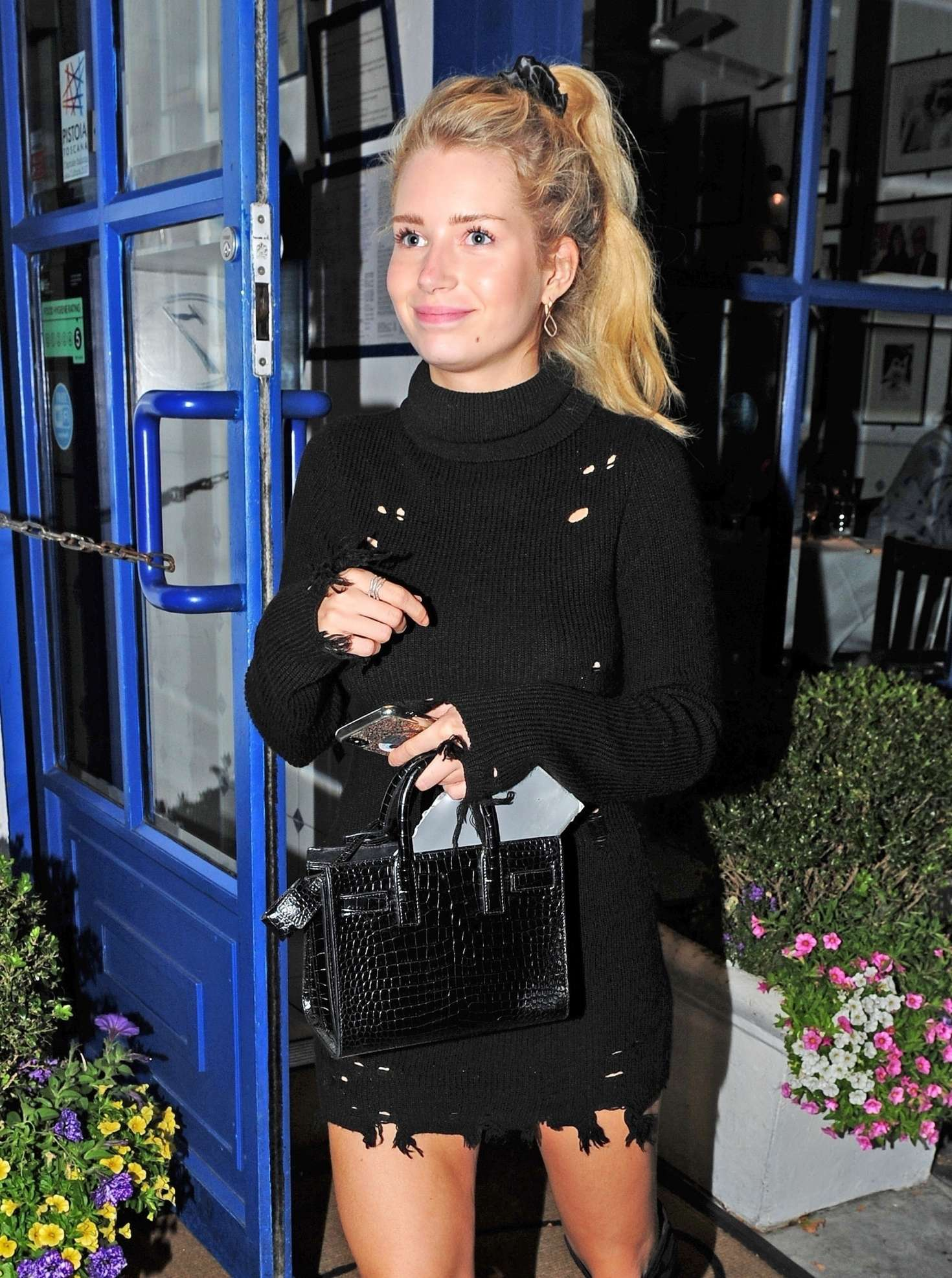 Lottie Moss in Black Mini Dress – Night out in Chelsea