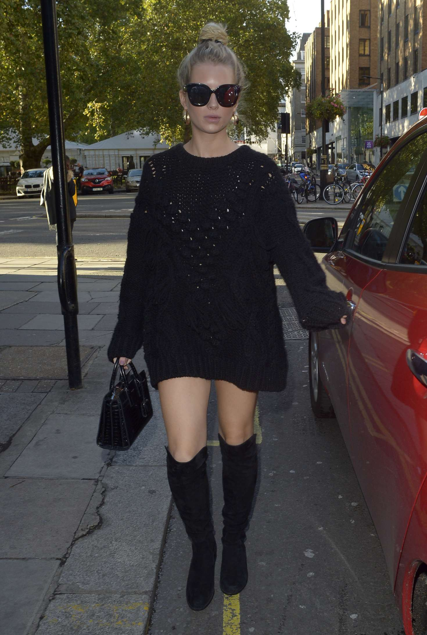 Lottie Moss in Black Mini Dress – Sexy Fish Mayfair in London