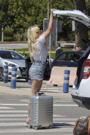 Lottie Moss in Denim Shorts - Leaving Ibiza