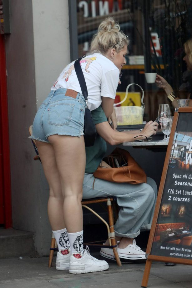 Lottie Moss - In denim shorts out and about in London