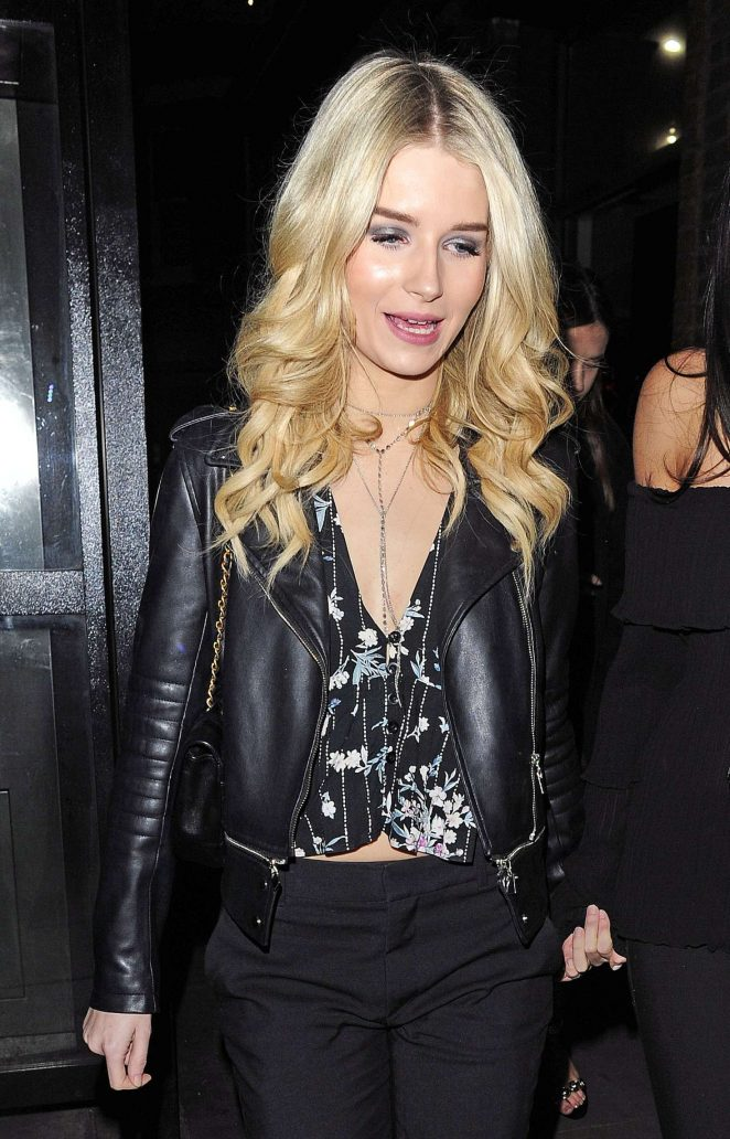 Lottie Moss in Leather Jacket nightout in Chelsea