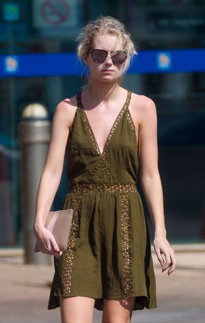 Lottie Moss in Mini Dress Shopping in Barbados