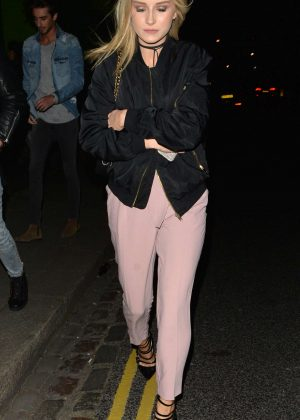 Lottie Moss in pink pants at Beaufort House in London
