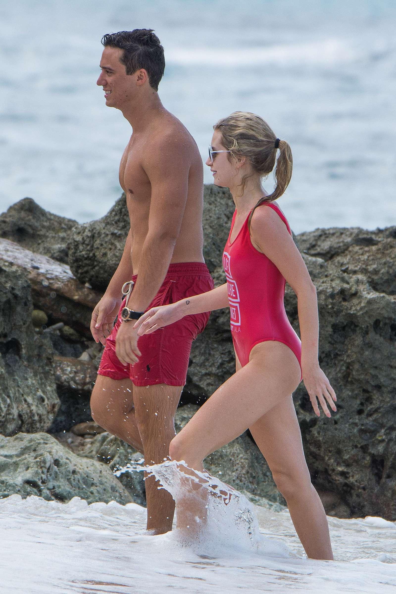 Lottie Moss in Red Swimsuit in Barbados   Lottie-Moss-in-Red-Swimsuit-2016--06