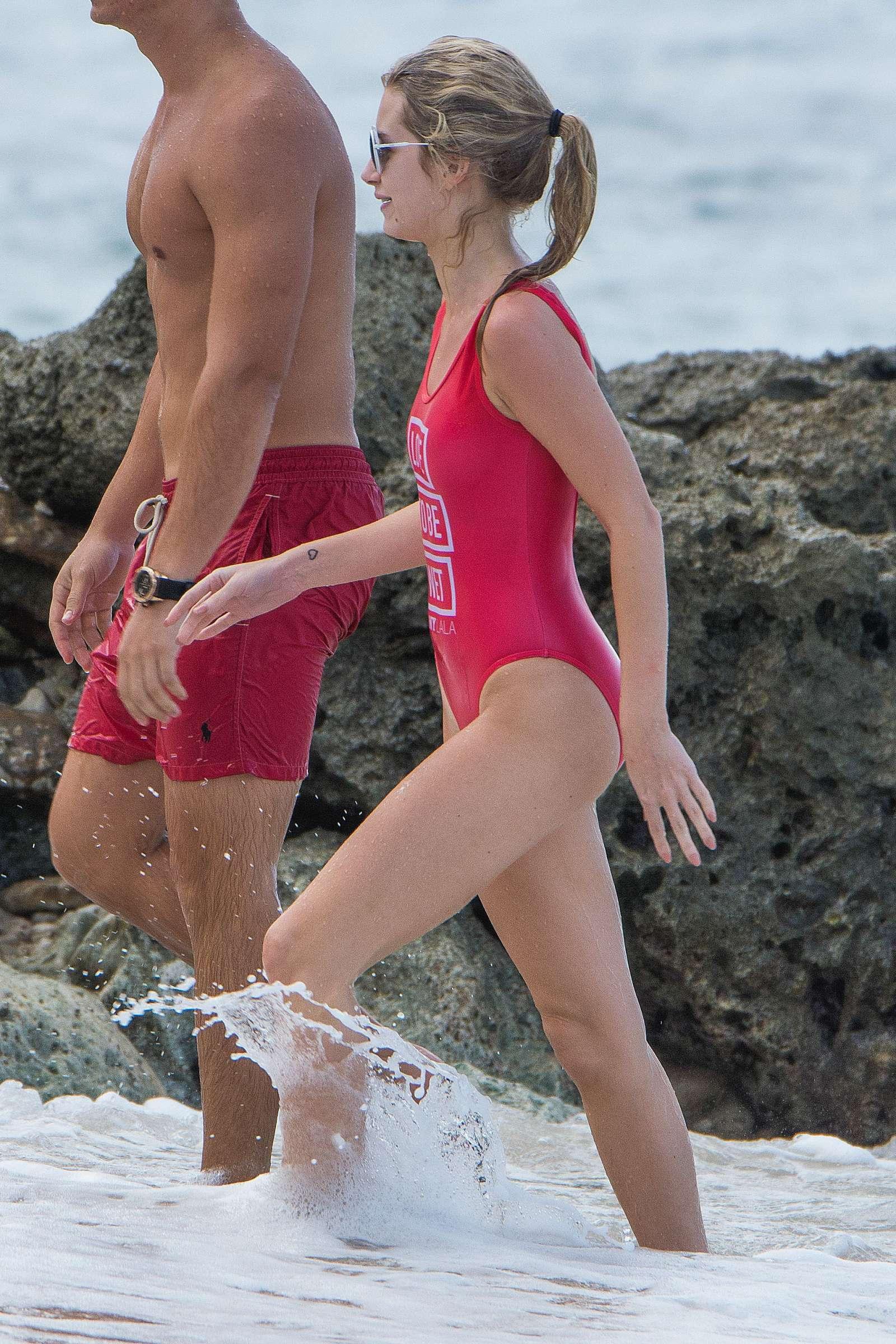 Lottie Moss in Red Swimsuit in Barbados   Lottie-Moss-in-Red-Swimsuit-2016--08