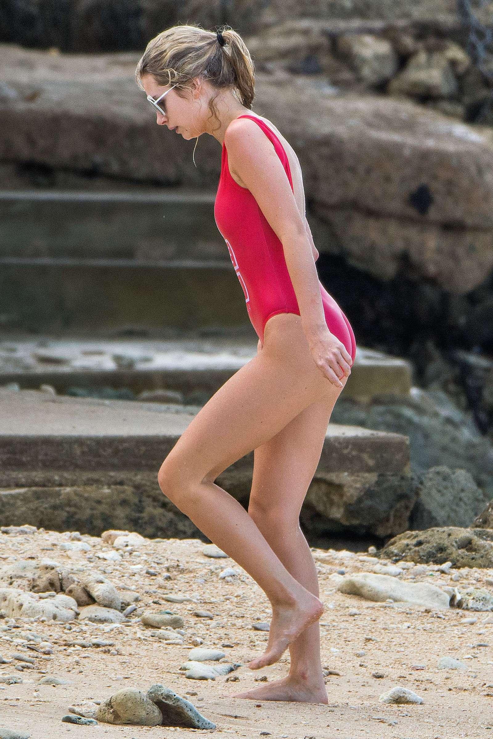 Lottie Moss in Red Swimsuit in Barbados   Lottie-Moss-in-Red-Swimsuit-2016--09