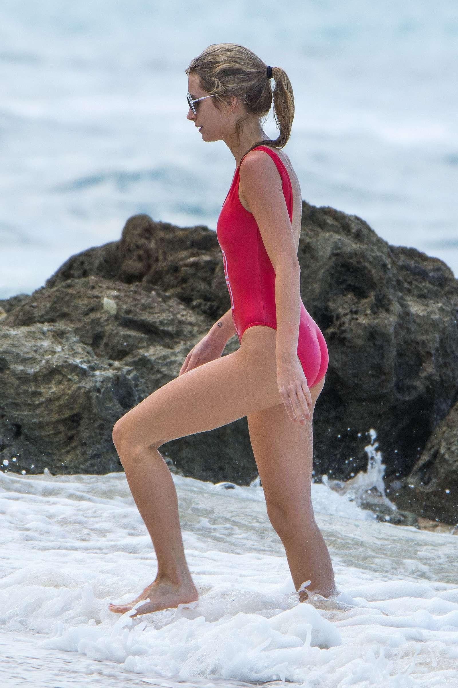 Lottie Moss in Red Swimsuit in Barbados   Lottie-Moss-in-Red-Swimsuit-2016--11