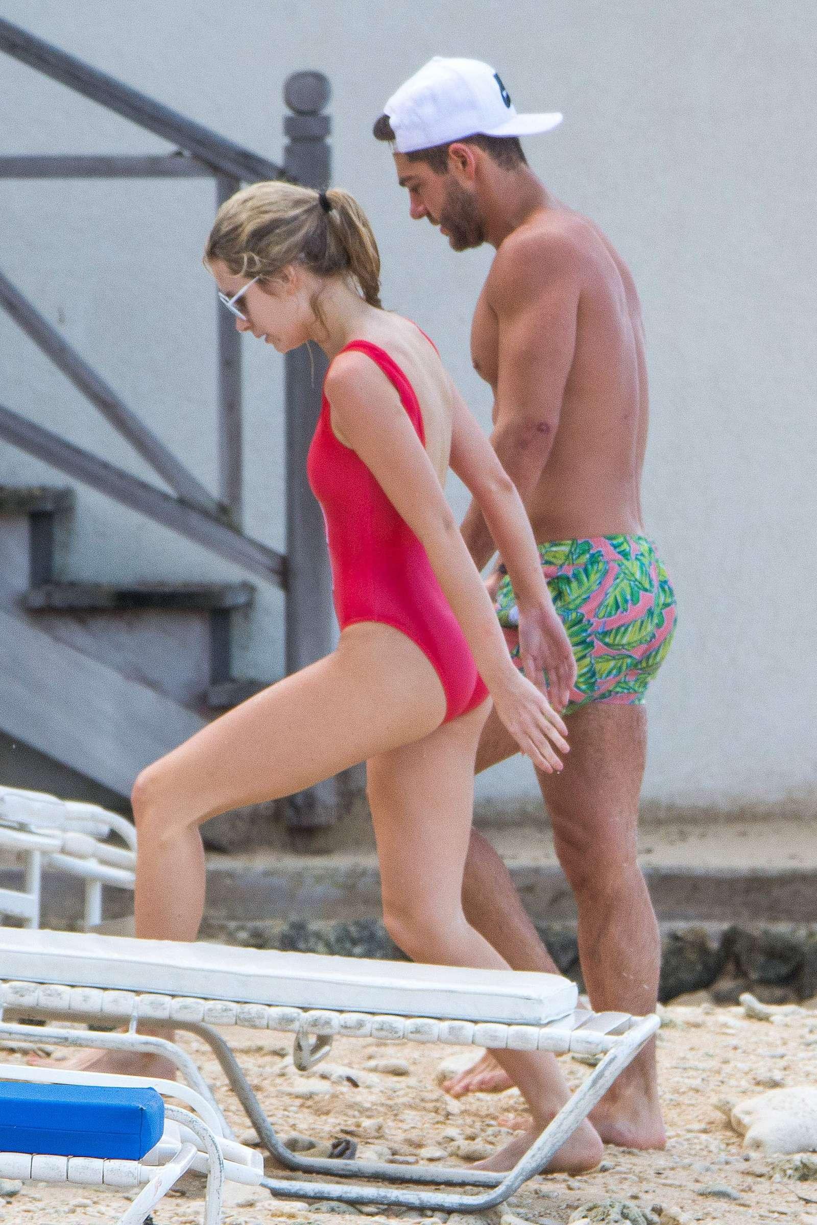 Lottie Moss in Red Swimsuit in Barbados   Lottie-Moss-in-Red-Swimsuit-2016--12