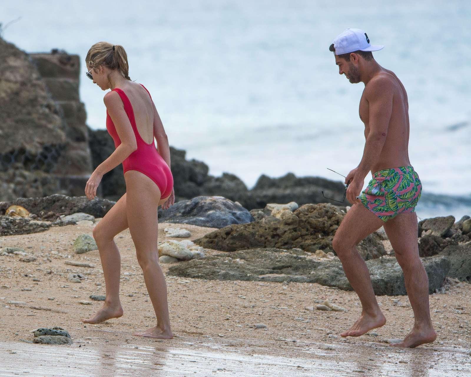 Lottie Moss in Red Swimsuit in Barbados   Lottie-Moss-in-Red-Swimsuit-2016--15