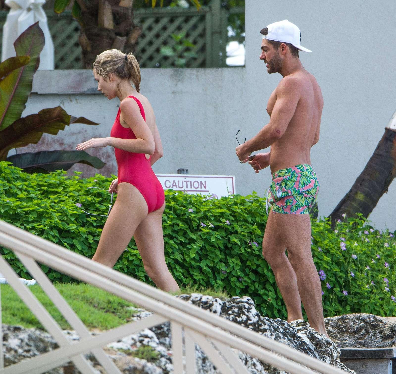 Lottie Moss in Red Swimsuit in Barbados   Lottie-Moss-in-Red-Swimsuit-2016--16