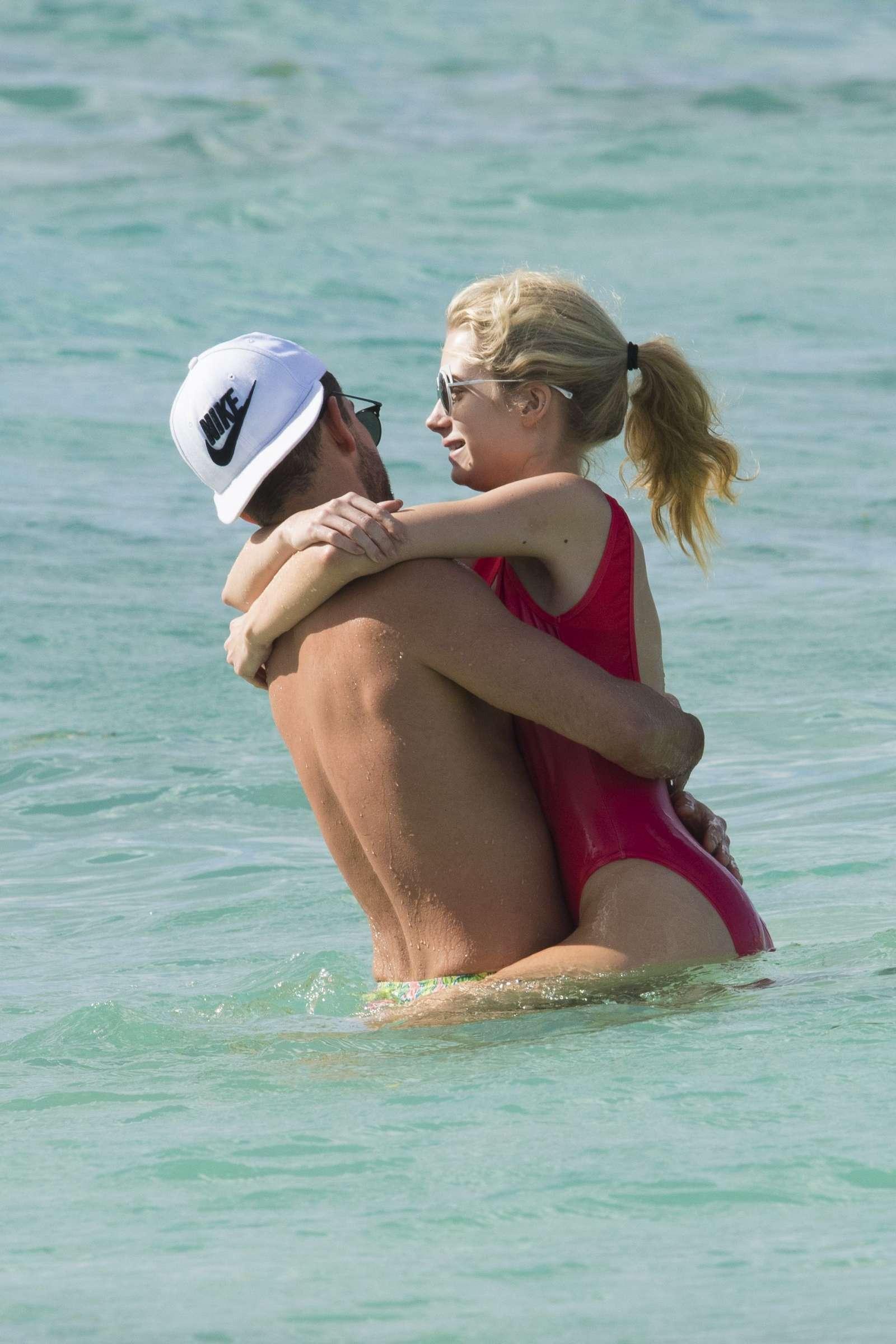 Lottie Moss in Red Swimsuit in Barbados   Lottie-Moss-in-Red-Swimsuit-2016--17