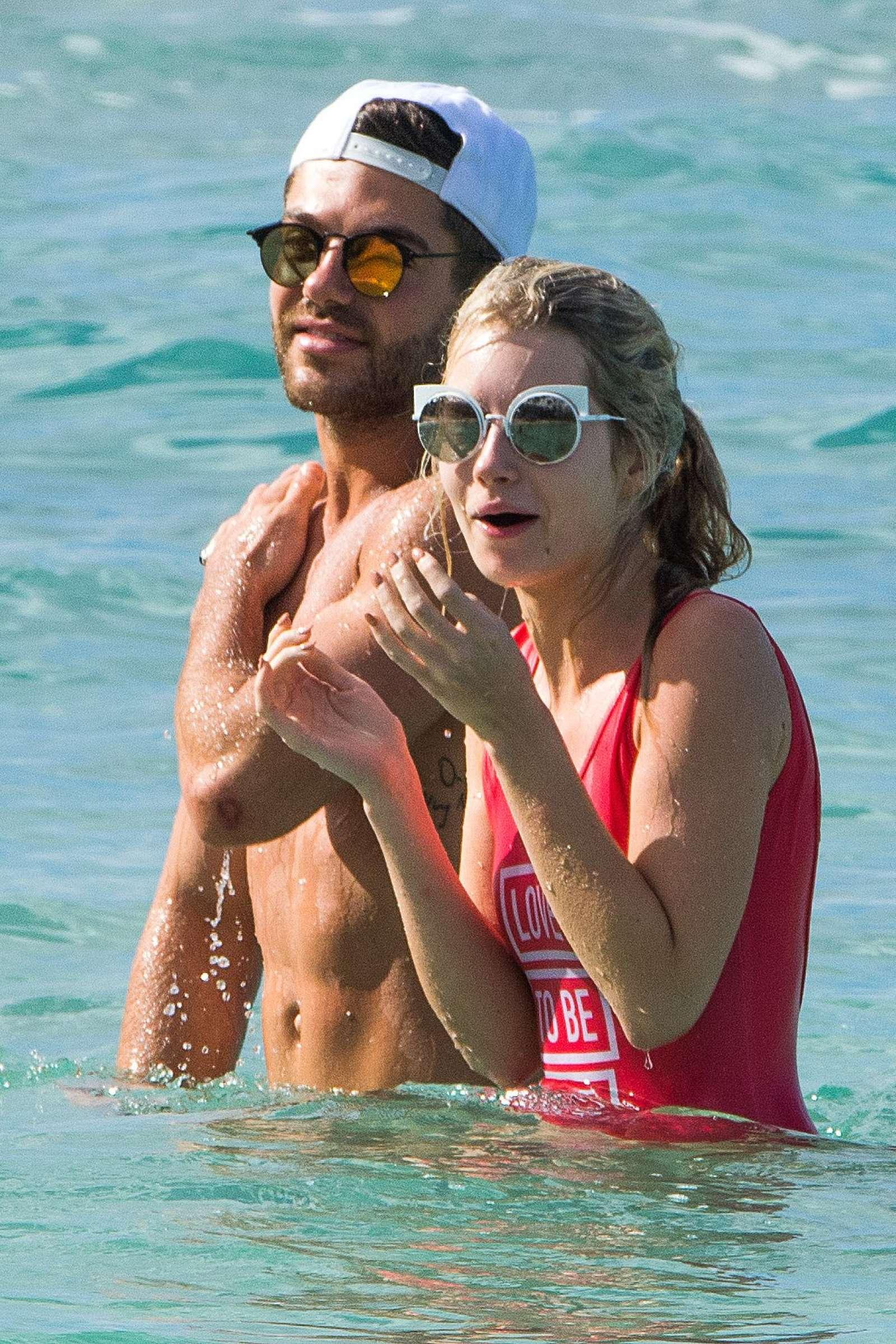 Lottie Moss in Red Swimsuit in Barbados   Lottie-Moss-in-Red-Swimsuit-2016--18