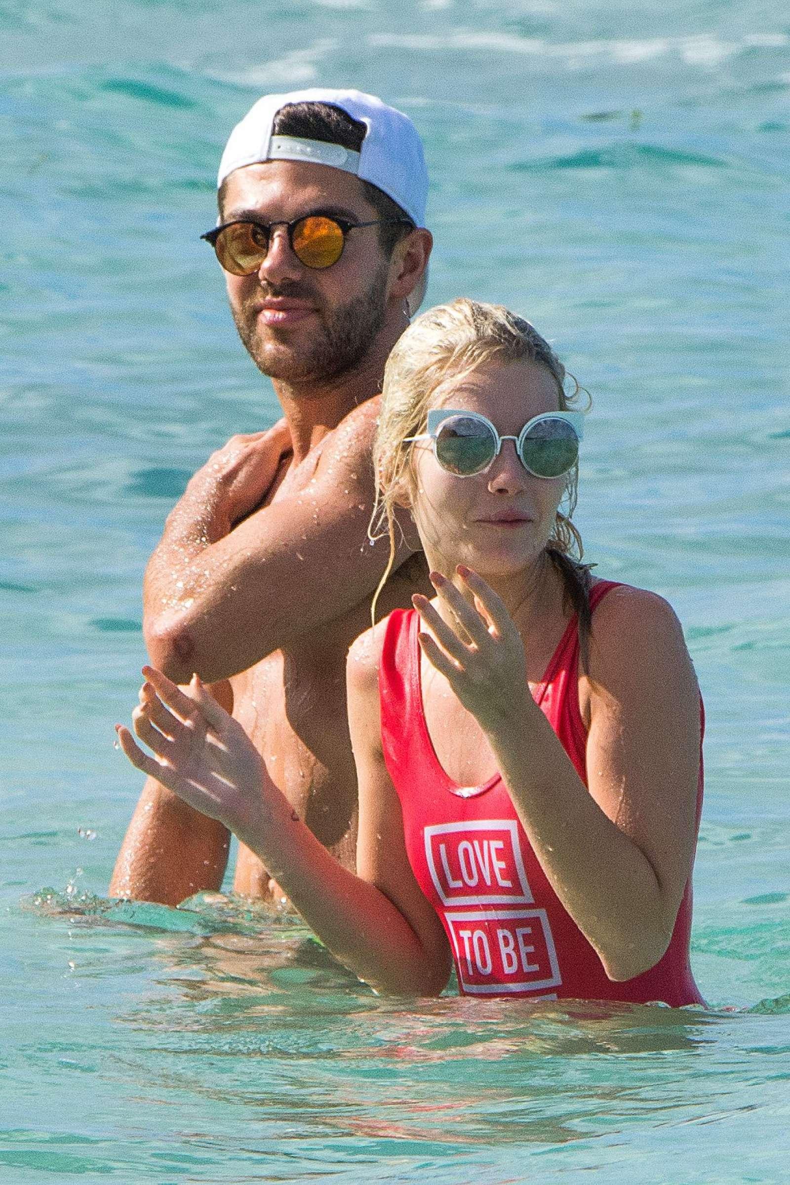 Lottie Moss in Red Swimsuit in Barbados   Lottie-Moss-in-Red-Swimsuit-2016--19