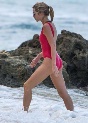 Lottie Moss in Red Swimsuit in Barbados Lindsay Lohan