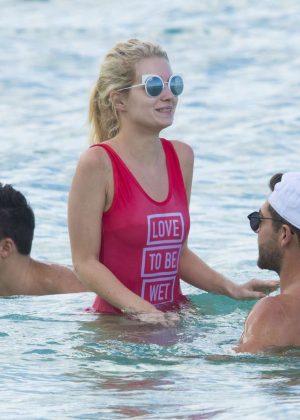 de870095a7 Lottie Moss in Red Swimsuit in Barbados