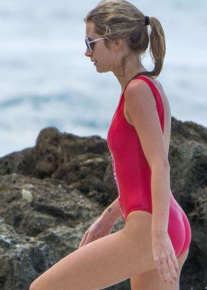 d1ac034f85 Lottie Moss in Red Swimsuit 2016 -02 - Full Size