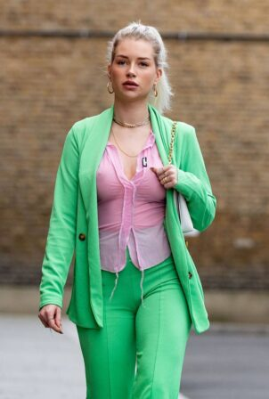 Lottie Moss - Steps out in Chelsea in a PrettyLittleThing Green suit