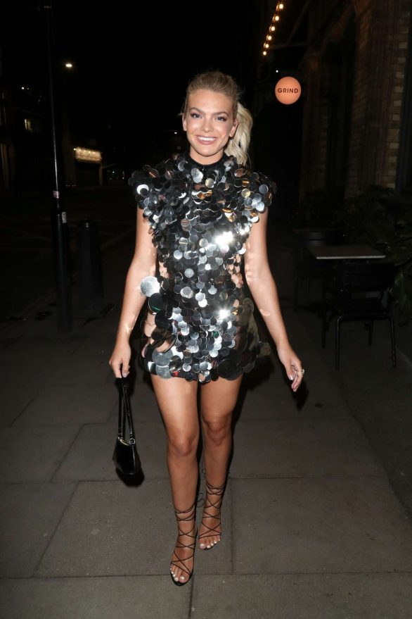 Louisa Johnson - Arriving at a birthday party in London