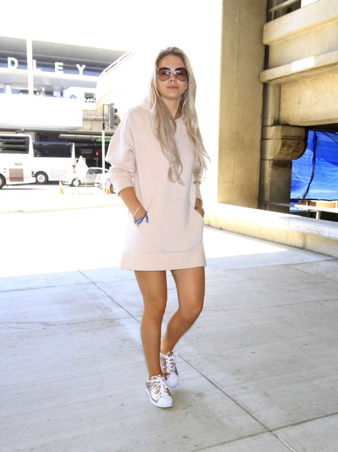 Louisa Johnson in Mini Dress Arrives in Los Angeles