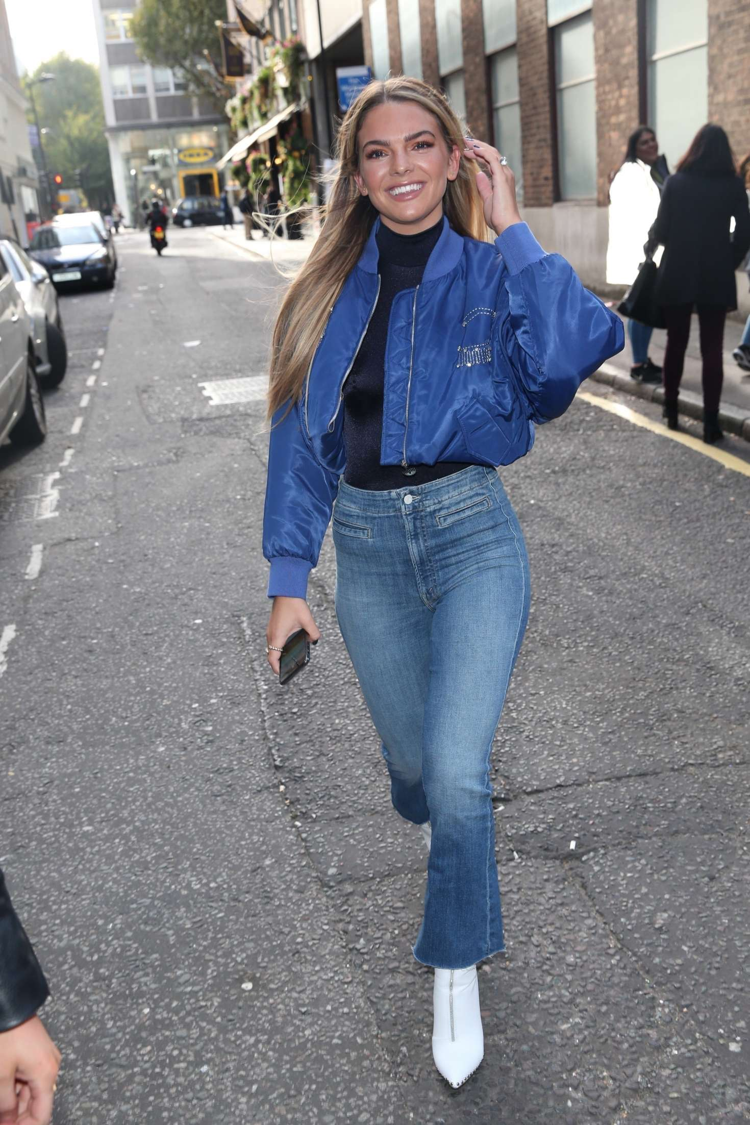 Louisa Johnson in Tight Jeans – Arriving at AOL BUILD in London