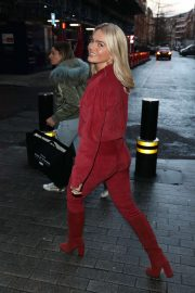 Louisa Johnson - Spotted in red with suede knee boots in London