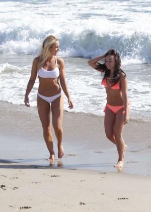 Louisa Lytton and Caroline Pearce - Bikini Candids in Santa Monica